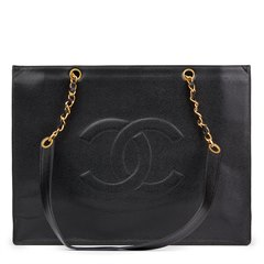 Chanel Black Caviar Leather Vintage Jumbo XL Timeless Shopping Tote