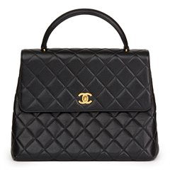 Chanel Black Quilted Caviar Leather Vintage Classic Kelly Flap Bag