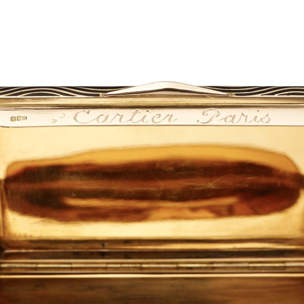 Cartier 18k Gold & Enamel Art Deco Vanity Case