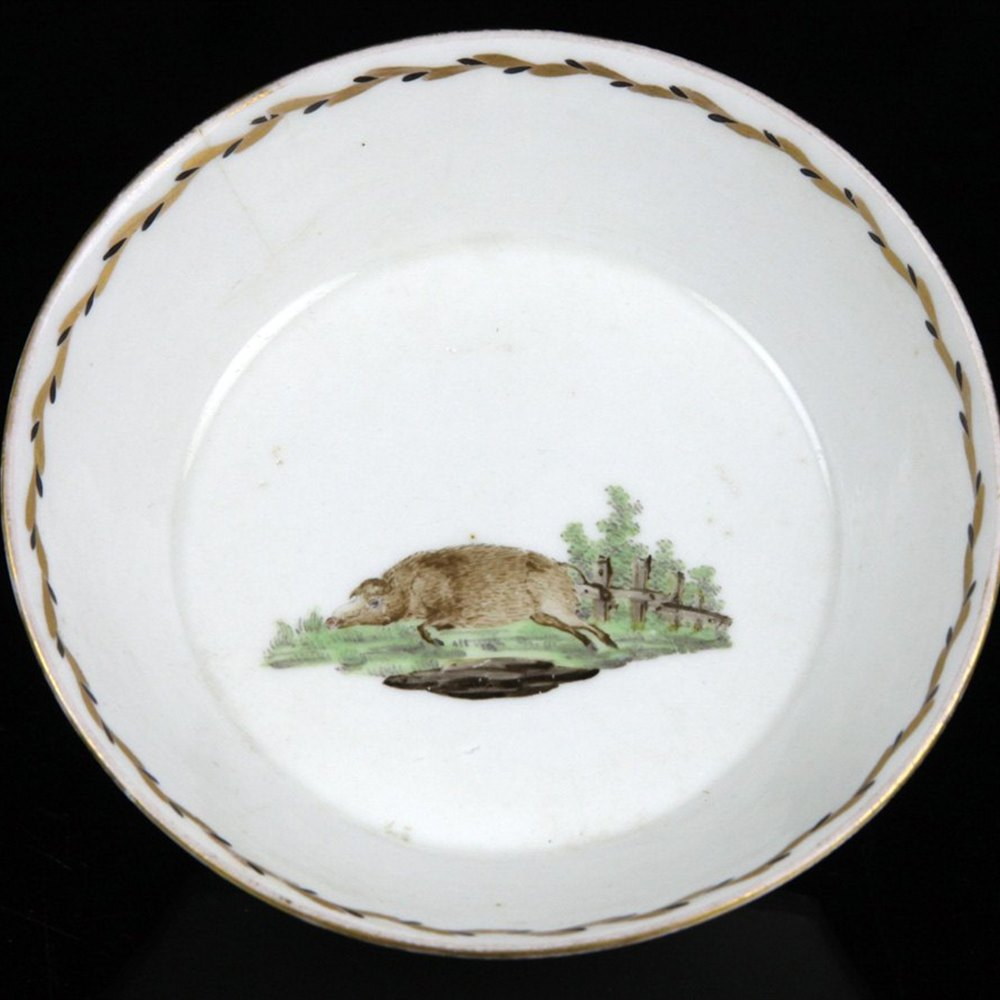 Very Rare Bristol Porcelain Saucer With Wild Boar Richard Champion 18th C.