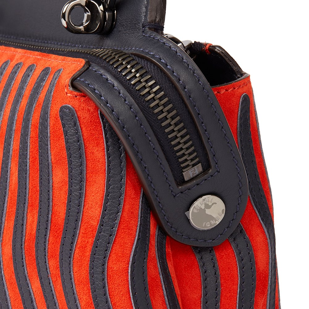 Fendi Night Blue Calfskin Leather & Poppy Red Suede Hypnotic Waves Small Dot Com Click Donated by Poppy Delevigne