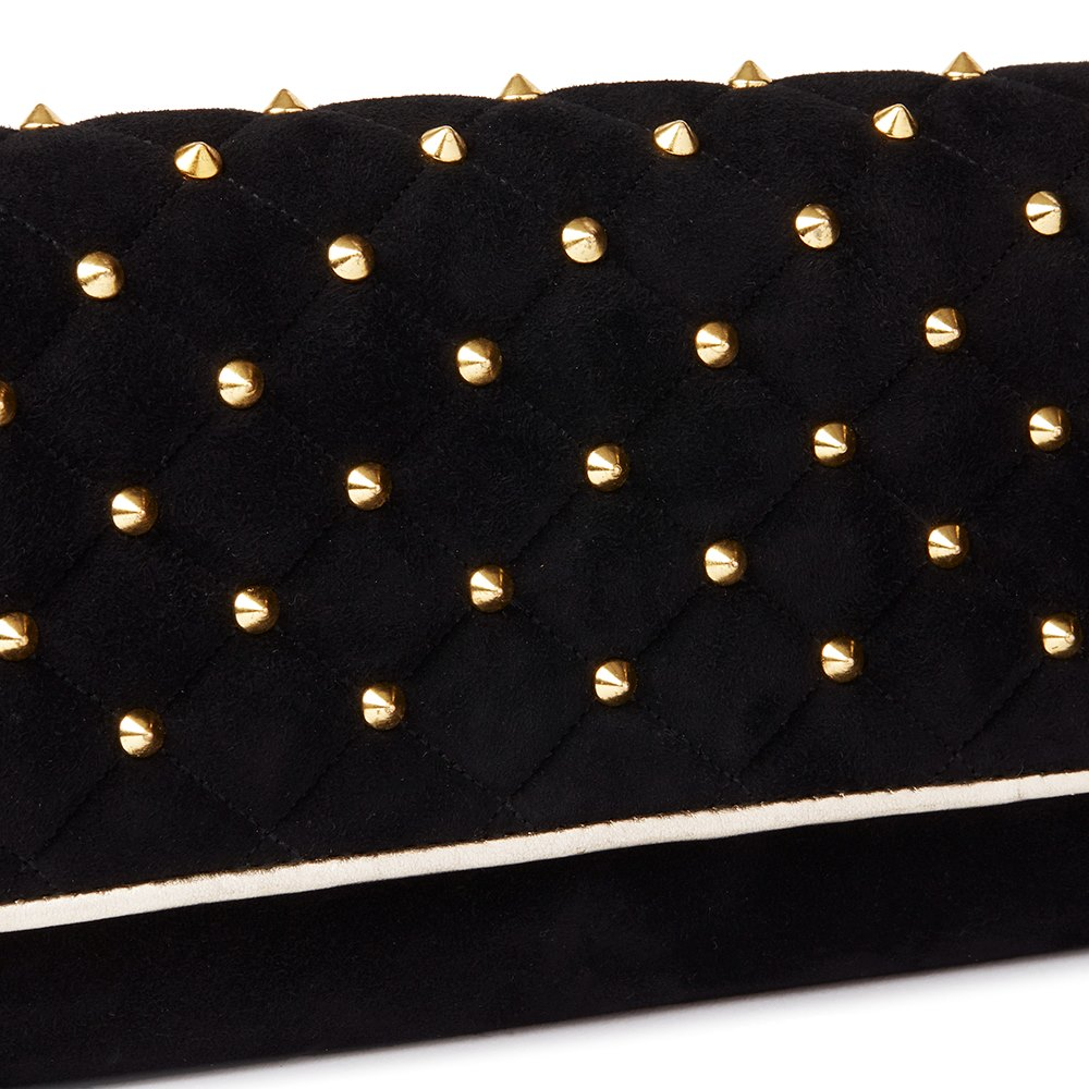 Roberto Cavalli Black Quilted Studded Suede East West Clutch-on-Chain Donated by Betty Bachz