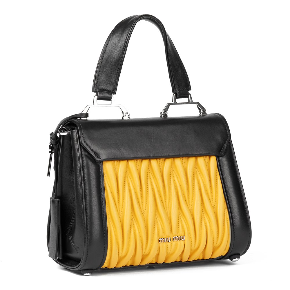 Miu Miu Black & Yellow Quilted Lambskin Top Handle Tote Donated by Pixie Geldof