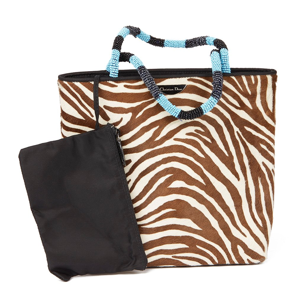 Christian Dior Brown Zebra Pony Fur Mini Top Handle Tote Donated By Nicky Rothschild