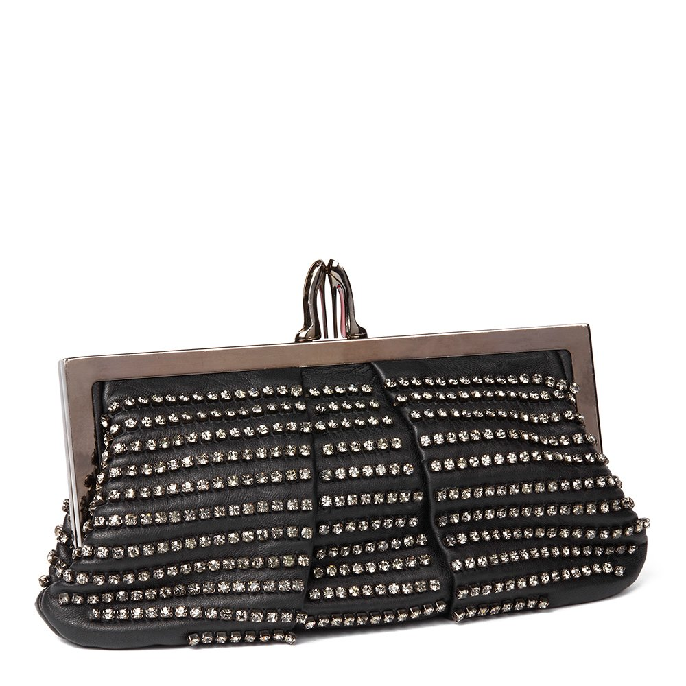 Christian Louboutin Black Diamante Embellished Lambskin Loubi Clutch Bag Donated By Nicky Rothschild
