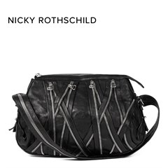 Balmain Black Calfskin Leather Zipper Bag Donated By Nicky Rothschild