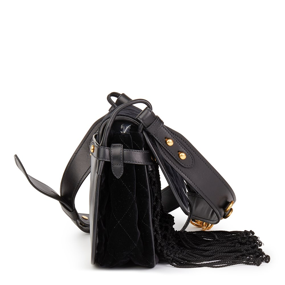 Prada Black Quilted Velvet & Calfskin Leather Corsaire Bag Donated By Sienna Miller