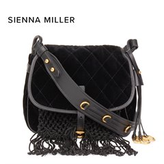 Prada Black Quilted Velvet & Calfskin Leather Corsaire Bag Donated By Sienna Miller
