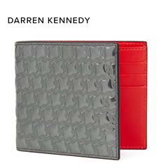 Christian Louboutin Gunmetal Mirror Patent Leather Kaspero Wallet Donated By Darren Kennedy
