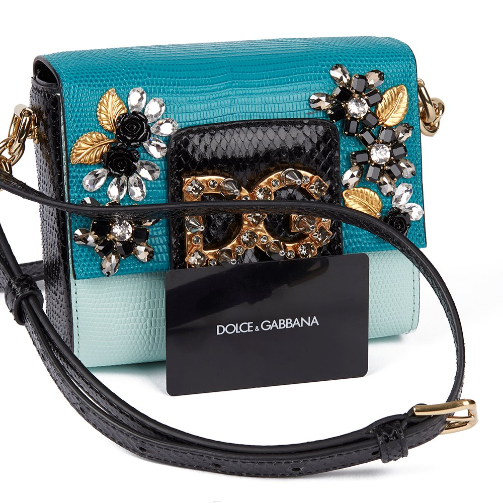 Dolce & Gabbana Blue Lizard Embossed Calfskin Leather & Black Python Leather Studded Millenials Mini donated by Maddi Waterhouse