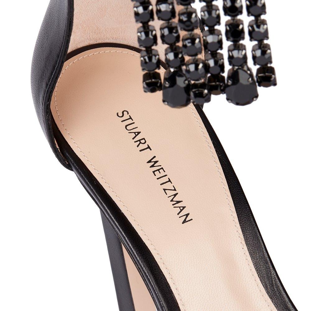 Stuart Weitzman Black Silk Fringe Square Nudist Sandal Donated By Kate Moss