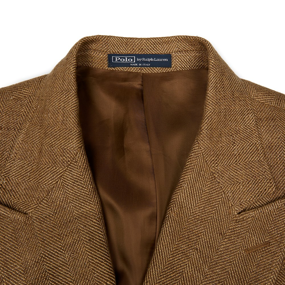 Polo By Ralph Lauren Brown Linen Double-Breasted Custom-Fit Sport Coat Donated By David Gandy