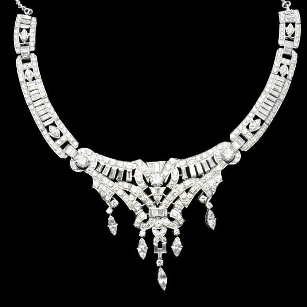 18k White Gold  18k White Gold Diamond Encrusted Necklace, Earrings and Ring