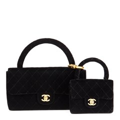 Chanel Black Quilted Velvet Vintage Medium Kelly Flap Bag Mini Charm Set