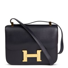Hermès Navy Box Calf Leather Vintage Constance 23cm