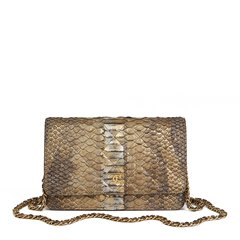 Chanel Grey & Gold Metallic Python Leather Wallet-on-Chain WOC