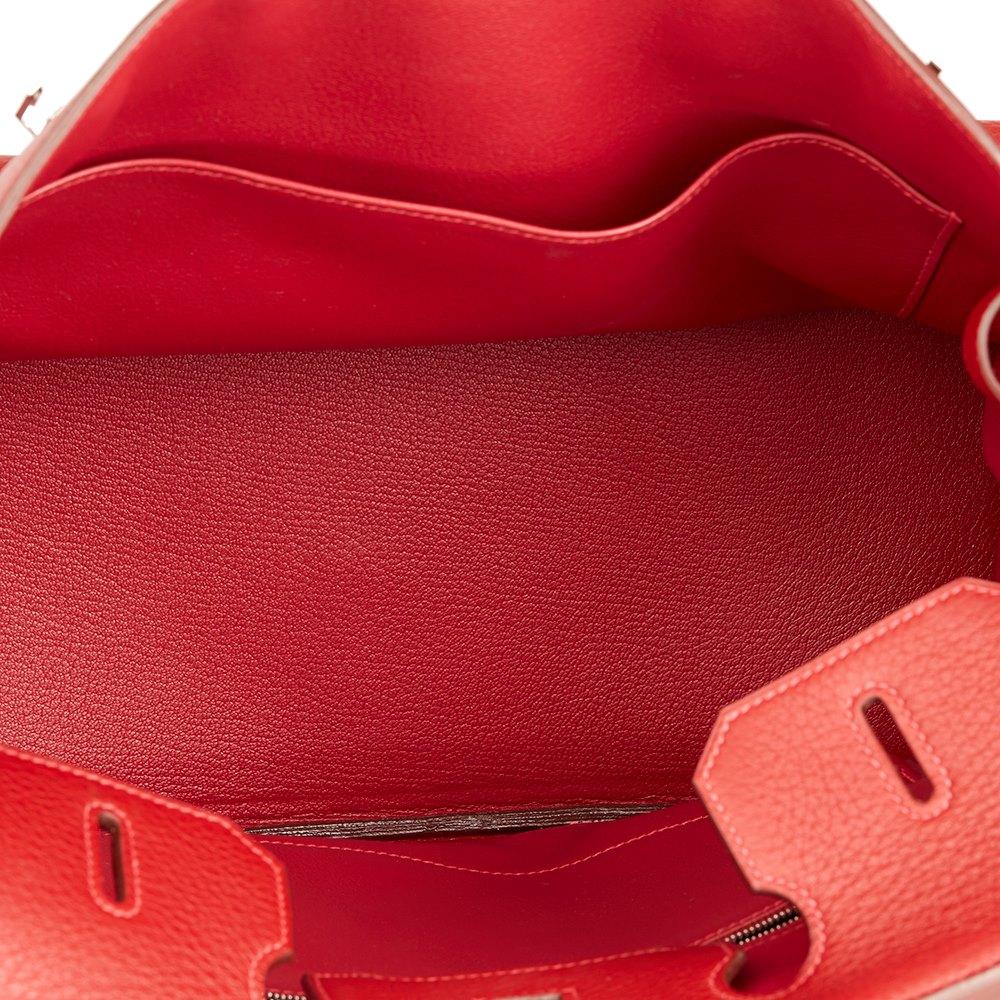 Hermès Rouge Garance Fjord Leather Birkin 35cm
