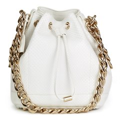 Christian Dior White Python Leather Small Bubble Bucket Bag