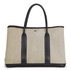 Hermès Black Negonda Leather & Beige Canvas Garden Party 36cm