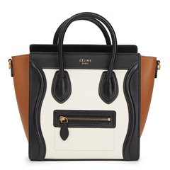 Céline Black, White, Brown Smooth Calfskin & Chevre Goatskin Leather Nano Luggage Tote