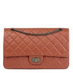 Chanel Brick Brown Quilted Aged Calfskin Leather 2.55 Reissue 227 Double Flap Bag