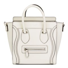 Céline Ivory Smooth Calfskin Debossed Nano Luggage Tote