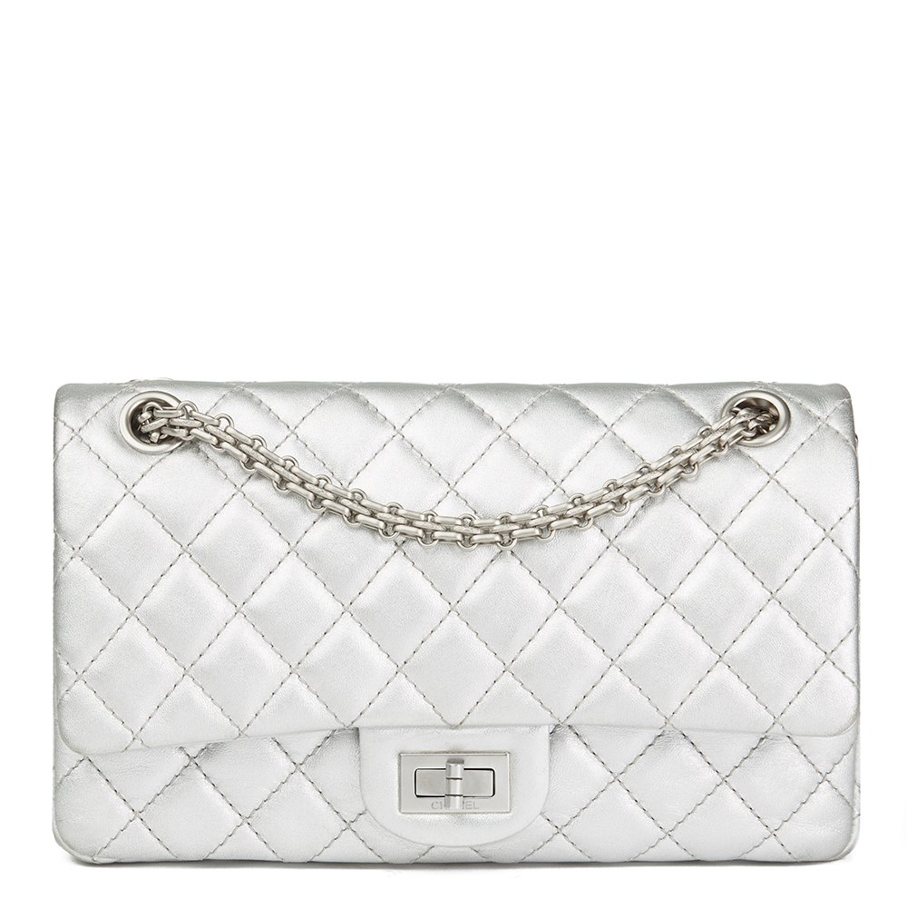 3f20ac1f7239 Chanel Silver Quilted Metallic Lambskin 2.55 Reissue 225 Double Flap Bag