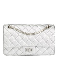 Chanel Silver Quilted Metallic Lambskin 2.55 Reissue 225 Double Flap Bag