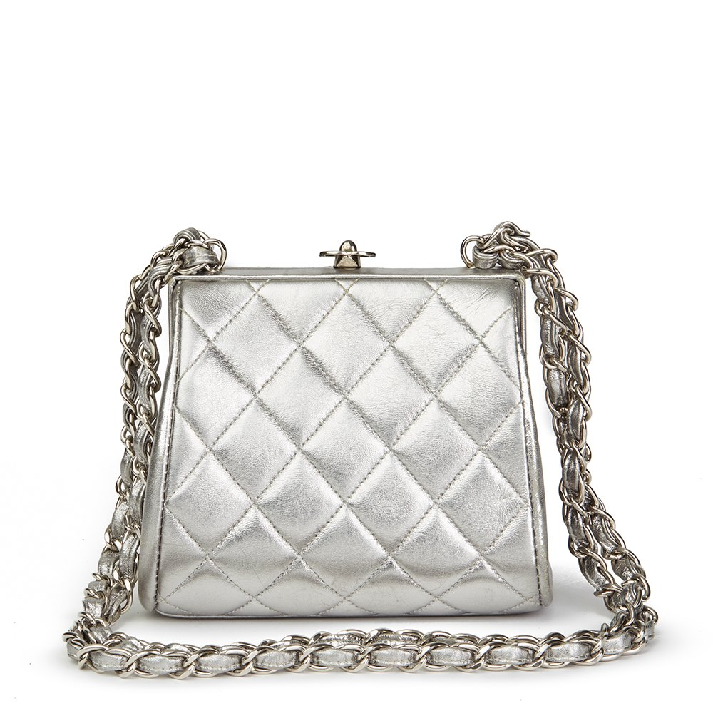 e38e84903176 Chanel Silver Quilted Metallic Lambskin Vintage Mini Timeless Frame Bag