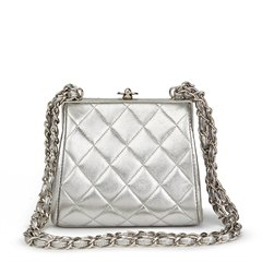 Chanel Silver Quilted Metallic Lambskin Vintage Mini Timeless Frame Bag