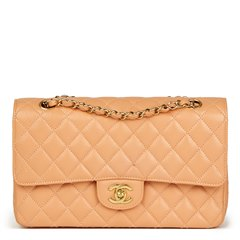 Chanel Peach Quilted Caviar Leather Medium Classic Double Flap Bag