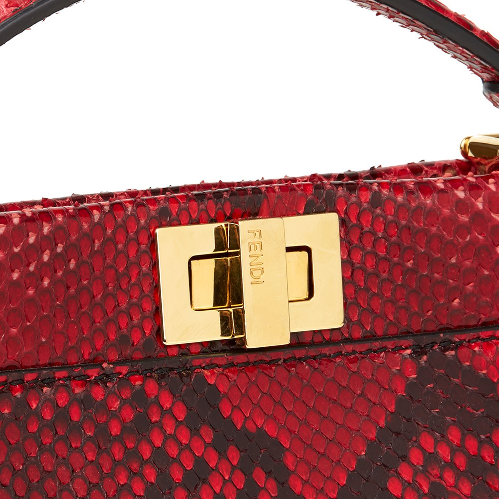 d5c93ab776aa Fendi Red Python Leather Mini Peekaboo