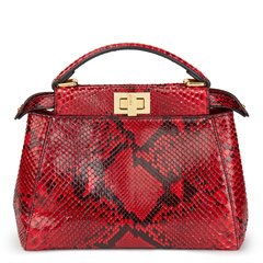 Fendi Red Python Leather Mini Peekaboo