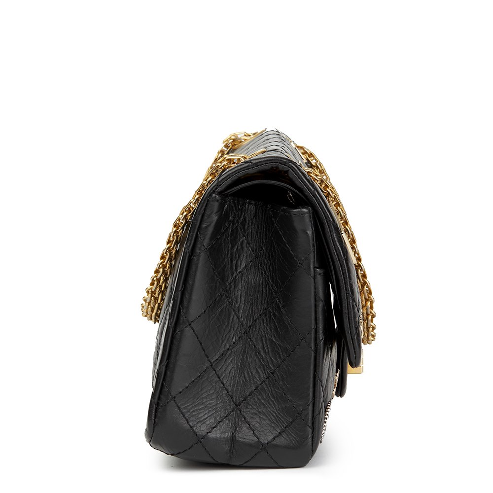 e40742f33300 Chanel Black Quilted Aged Calfskin Leather Casino Lucky Charms 2.55 Reissue  225 Double Flap Bag