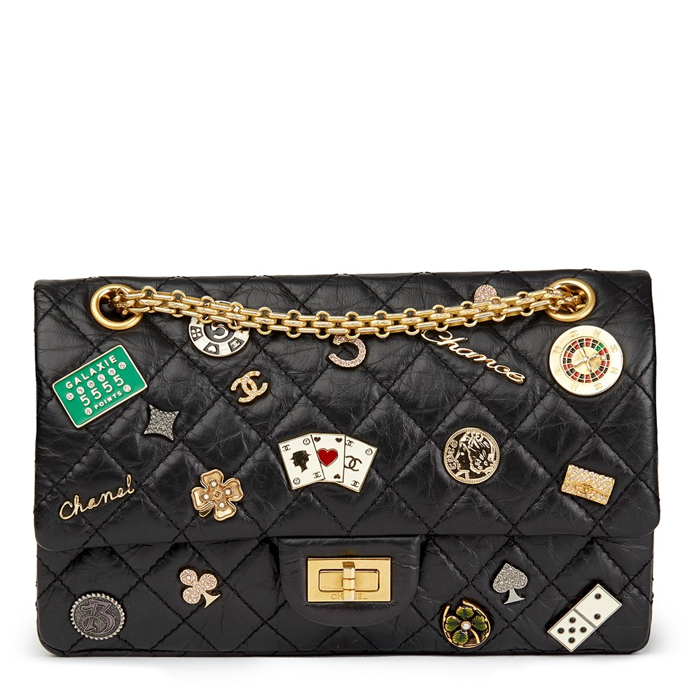 96b4fe24bd8a0e Chanel Black Quilted Aged Calfskin Leather Casino Lucky Charms 2.55 Reissue  225 Double Flap Bag