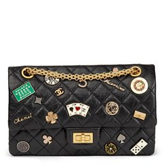 Chanel Black Quilted Aged Calfskin Leather Casino Lucky Charms 2.55 Reissue 225 Double Flap Bag