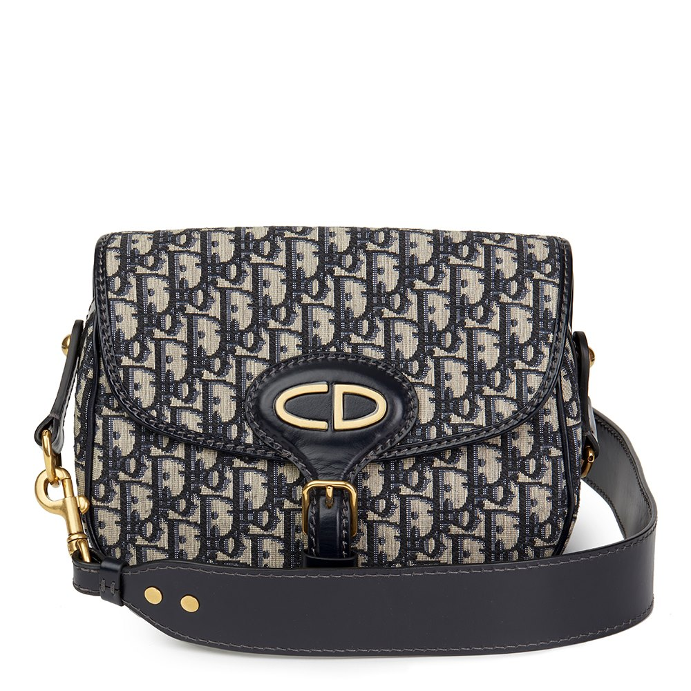 d2d017e82956 Christian Dior Blue Monogram Canvas   Calfskin Leather Oblique Saddle Bag