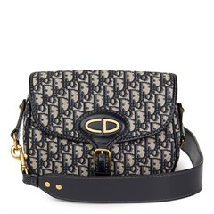 Christian Dior Blue Monogram Canvas & Calfskin Leather Oblique Saddle Bag
