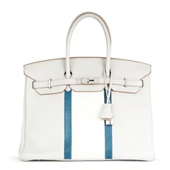 Hermès Gris Perle, White Clemence Leather & Mykonos Lizard Club Birkin 35cm