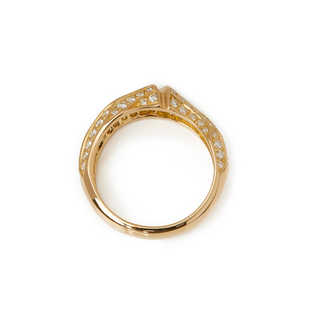Cartier 18k Yellow Gold Diamond Bamboo Ring