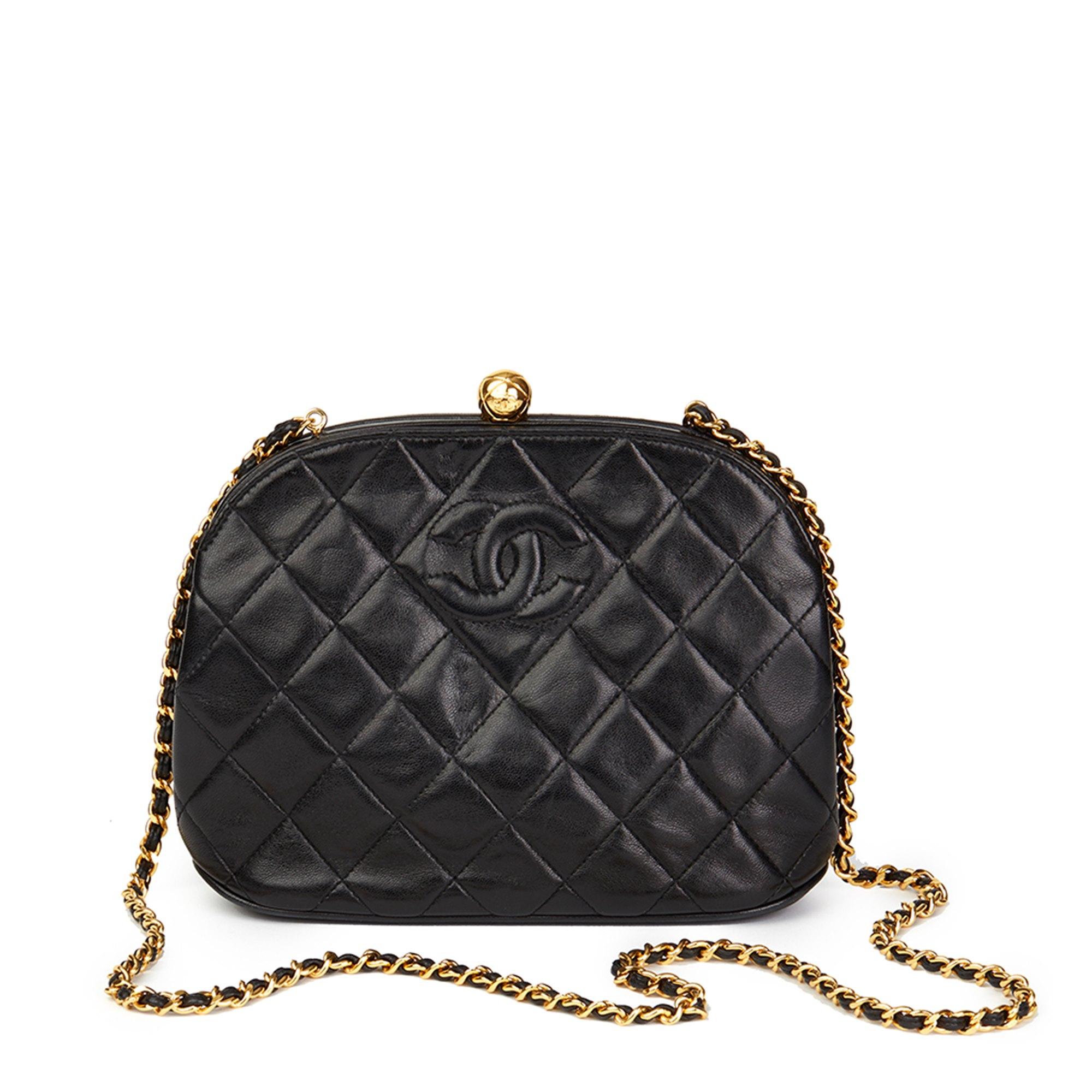 Chanel Black Quilted Lambskin Vintage Timeless Frame Bag