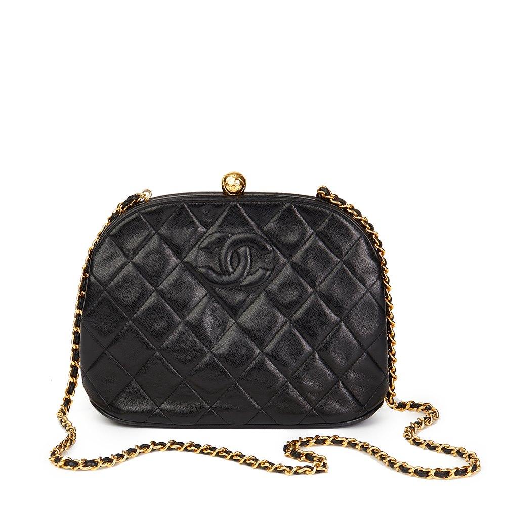 fb4bac801971 Chanel Black Quilted Lambskin Vintage Timeless Frame Bag