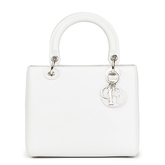 Christian Dior White Calfskin Leather Lady Dior MM