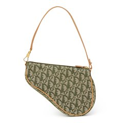 Christian Dior Khaki Monogram Canvas Saddle Pouch