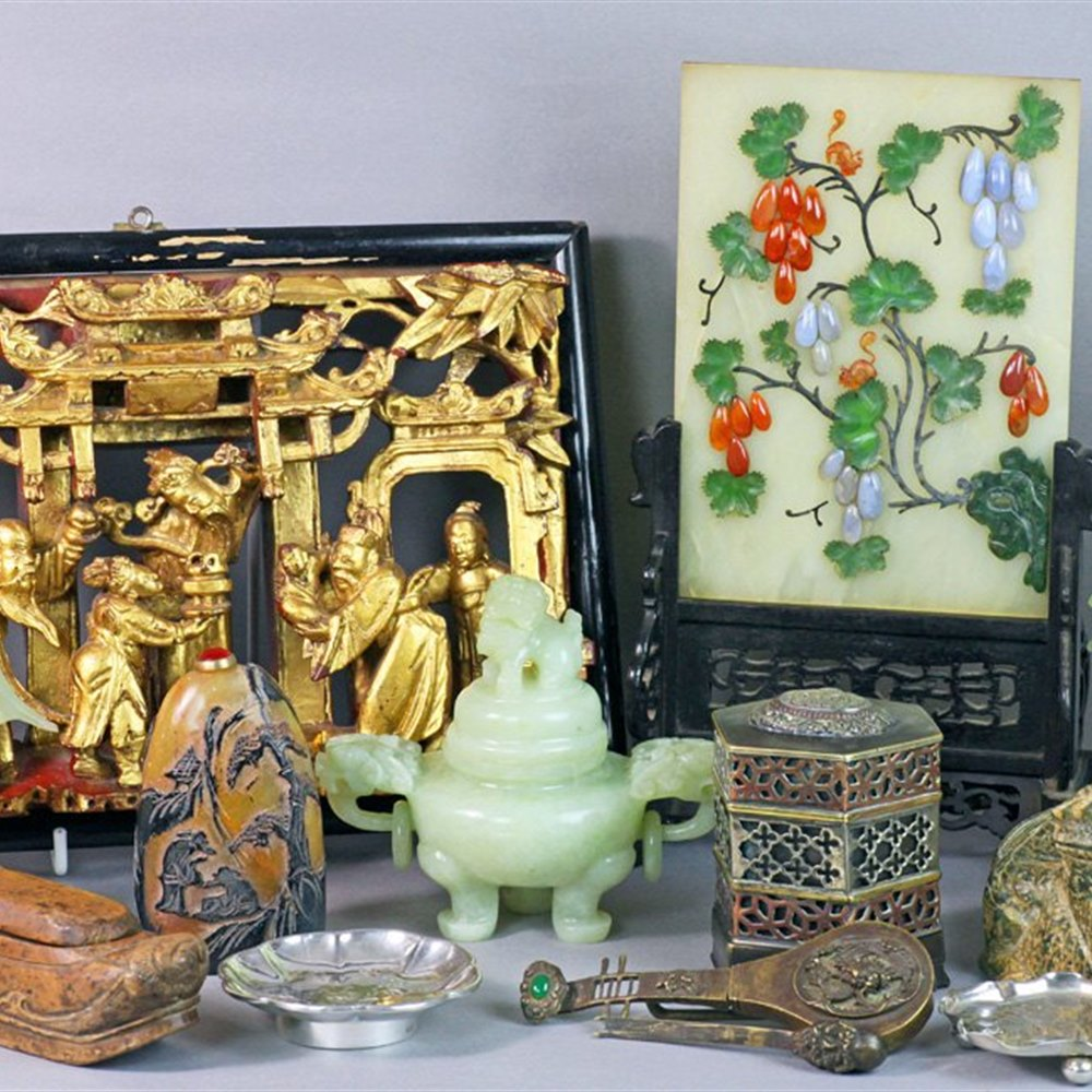 Unusual Antique Chinese Jade Screen Set With Polished And Cut Agates, Jade And Moonstones 19th C.
