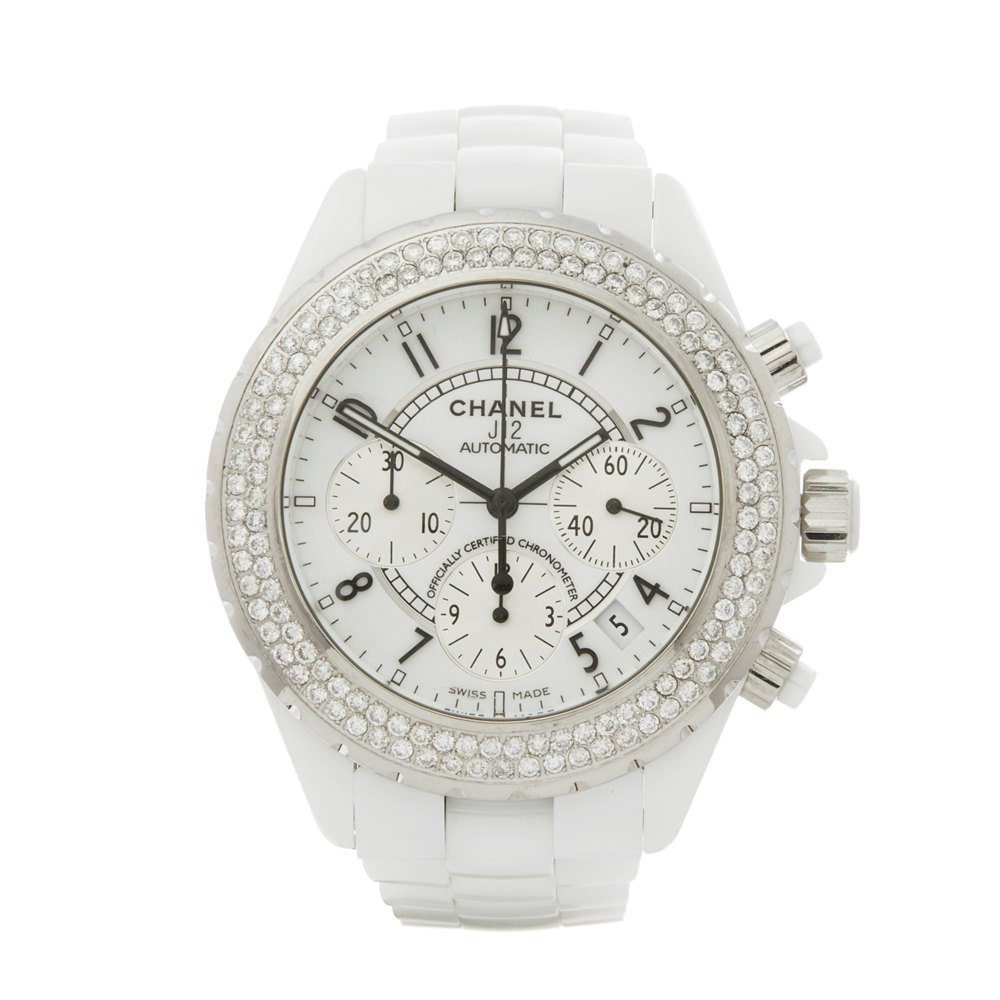 Chanel J12 Diamond Chronograph White Ceramic H1007