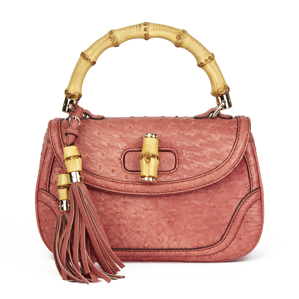 f1dd00138aa GUCCI CORAL OSTRICH LEATHER BAMBOO CLASSIC TOP HANDLE HB1900