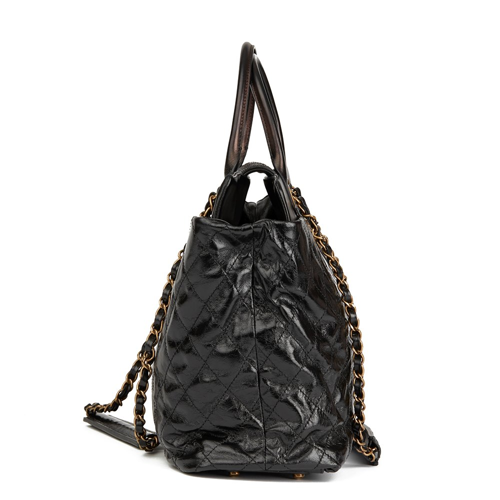 Chanel Black Quilted Glazed Calfskin Leather
