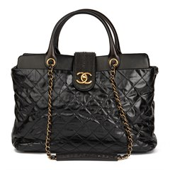 Chanel Black Quilted Glazed Calfskin Leather, Lambskin & Stingray Large Bindi CC Tote