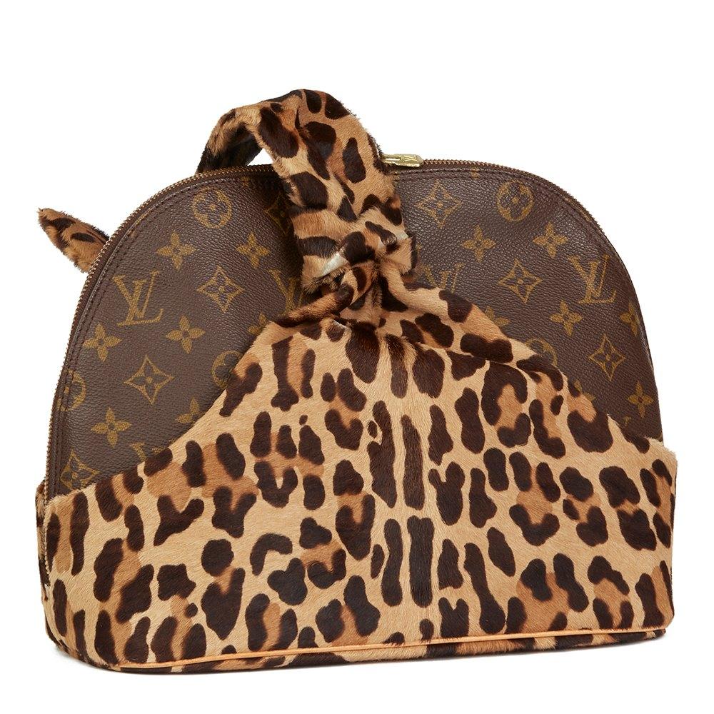 Louis Vuitton X Azzedine Alaia Leopard Pony Fur & Canvas Vintage Alma TU4paj78